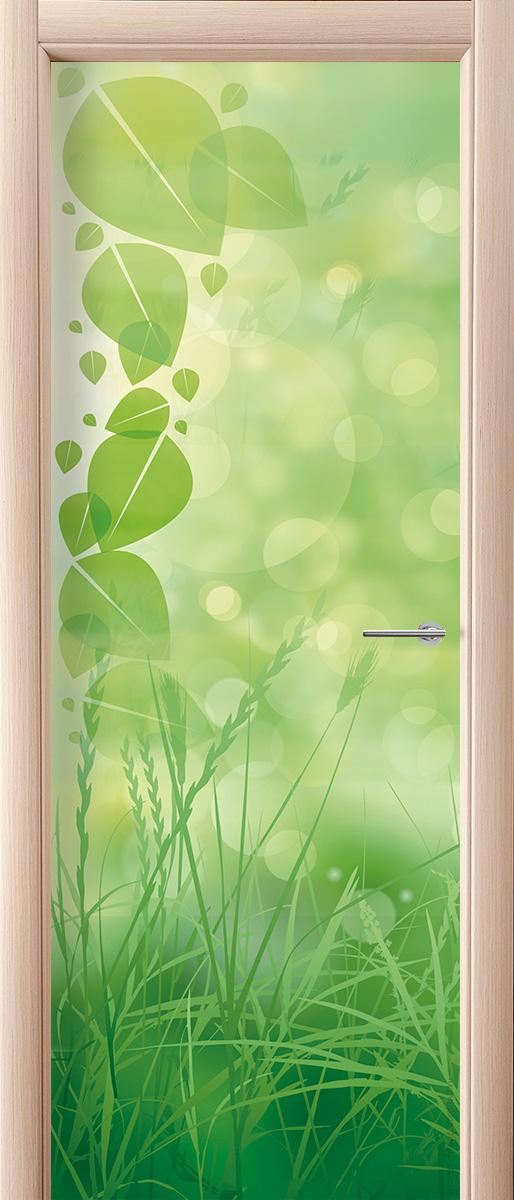 Наклейка на дверь  - Зеленая трава | магазин Интерьерные наклейки