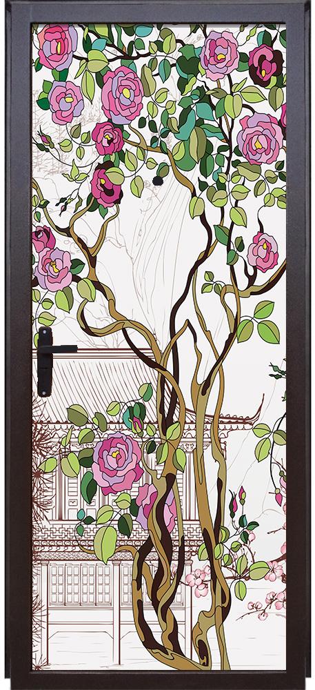 Наклейка на дверь -  Розы