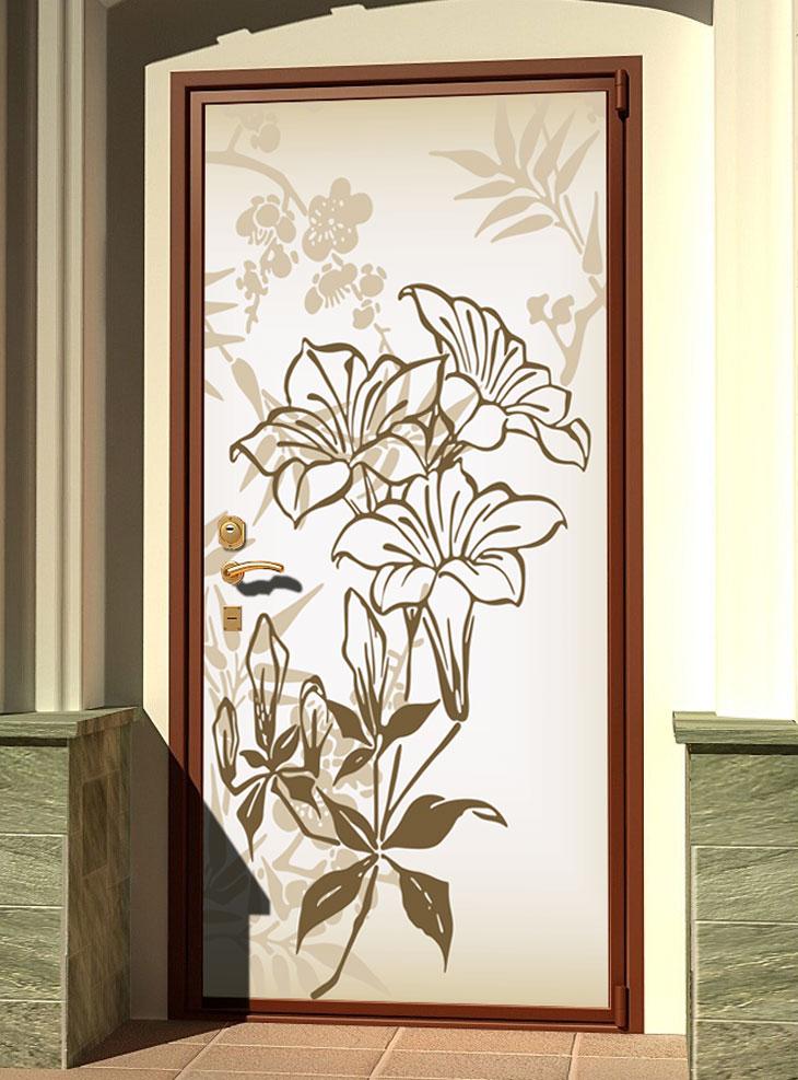 наклейке на дверь - Луговые цветы