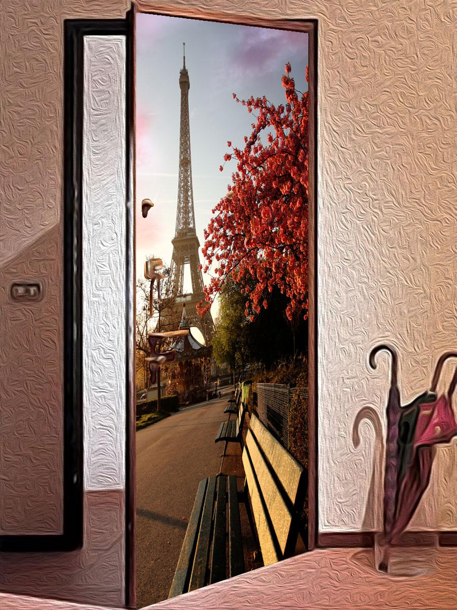 Наклейка на дверь - Весенний Париж